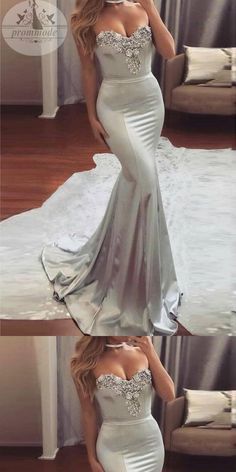 Mermaid Sweetheart Sweep Train Satin Prom Dress with Beading,Party Dresses, Evening Dresses,PDY0315#prom dresses#