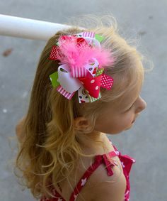 Loving this Pink & Green Watermelon Bow Clip on #zulily! #zulilyfinds