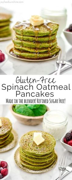 These Gluten-Free Spinach Oatmeal Pancakes are a fun, healthy breakfast full of nutritious ingredients like spinach, oatmeal and Greek yogurt that your kids will love! They are made in the blender and are refined sugar free!