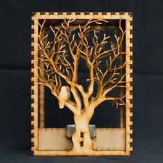 Laser cut wood candle lantern.  Barred Owl in Tree design converted from original drawing.  Hand crafted and designed in Seattle, Washington.