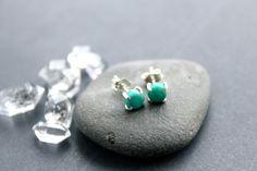 Genuine Turquoise Stud Earrings  Tiny Sleeping by MordakkDesigns, $49.00