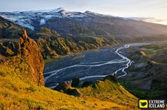 Krossa River in Thorsmork, Iceland. Perfect for a hike! Tours In Iceland, Iceland Travel, Hiking Tours, Faroe Islands, Day Tours, Volcano, River, Activities, Mountains