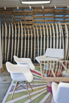 surfboard racking with pallet wall display
