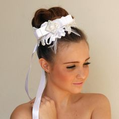 Bridal Headband. Bridal tiara. White ribbon. от NiKAAccessories, $50.00