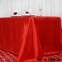 "90x156"" RED Wholesale SATIN Banquet Linen Wedding Party Restaurant Tablecloth"