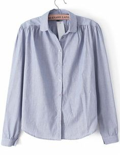 Blue Lapel Long Sleeve Striped Blouse US$26.72