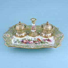 COPELAND & GARRETT (1833-1847) Fine Antique English Porcelain Inkstand. (c. 1840England)