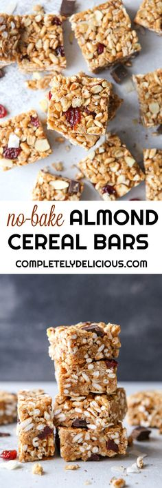 No-Bake Cereal Bars with Dried Cherries, Almond, and Coconut