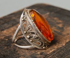 Vintage Baltic amber ring, filigree decor, Size 7