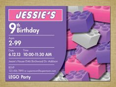 Lego Friends Girl Birthday Party Invitation Purple and Pink (DIGITAL)