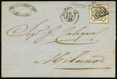 lotto 321 - Governo delle Romagne - da Bologna a Milano del 16.7.1859 con Pontificio b.8 bianco n.23POR - ann. a griglia con a lato d.c. di Bologna