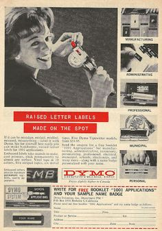 1962 ad: Dymo Raised Letter Labels Made on the Spot #dymo #label #vintage