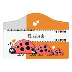 $12.95 | Ladybug baby nursery with name white and orange #playroom #kidsroom #name #nameplate #ladybugs #redandblackladybirds #newbaby #white #grey #orange Kids Door Signs, Baby Ladybug, Orange Door, Foam Adhesive, Dry Erase Board, Room Signs, Acrylic Material, Make Your Mark, Playroom