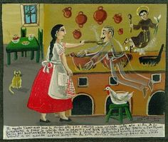 Original Mexican Exvoto retablo ex voto Good cook and husband ghost