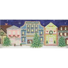Christmas Street Scene needlepoint canvas from Alice Peterson
