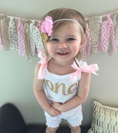 903ce201db5 Items similar to Pink and Gold Birthday Romper   Baby Girl First Birthday  outfit   Pink and Gold First Birthday   Baby Girl Birthday Outfit   One on  Etsy