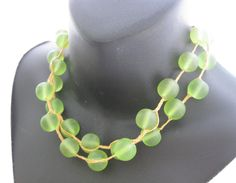 Green lucite and linen necklace, extra long green, large bead, glowing, classic, preppy, summer, boho, hippie, bright green necklace by thelavenderpear on Etsy