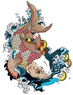 japanese carp koi gold fish swimming in a pond with feng shui money coins . Art And Illustration, Koi Fish Drawing, Koi Fish Tattoo, Japanese Drawings, Japanese Tattoo Art, Koi Art, Fish Art, Koi Kunst, Koi Tattoo Design