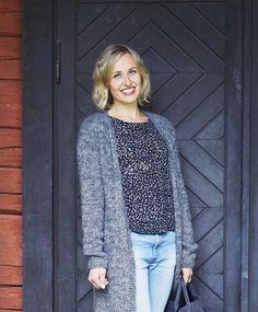 Pitkä neuletakki – katso ohje | Meillä kotona Knit Crochet, Arts And Crafts, Vest, Blazer, Knitting, Sweaters, Pattern, Jackets, Tops