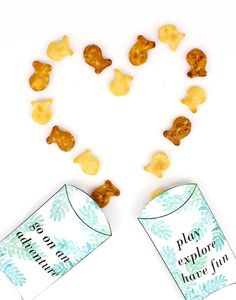 Goldfish cracker snack boxes. Download this FREE printable to make these sweet little snack packs to take on your summer adventures. Fun and easy leaf-patterned printable pillow boxes to encourage outdoor adventures when kids are home from school this summer.