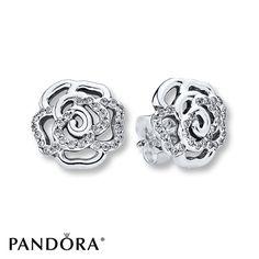 PANDORA Earrings Shimmering Rose Sterling Silver