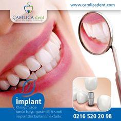Ömür Boyu Garantili A Sınıfı İmplantlar İle Sağlam Dişler, Mutlu Gülüşler Elde Edin. 0216 520 20 98 | http://www.camlicadent.com/services/implant/