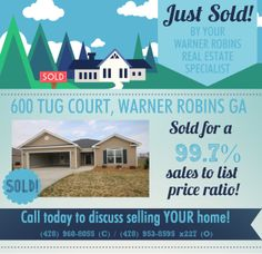 Just SOLD this 3 Bdrm/2 Bath home in Dover Meadows Subdivision at 600 Tug Court, Warner Robins GA 31088 (MLS # 114751).