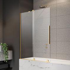 Złoty parawan nawannowy Radaway Furo ze skrzydłem przesuwnym. #radaway #projektowaniewnetrz #Showers #BathroomShower #bath #designbath #prysznic #budowadomutrwa #mojemieszkanie #modernbathroom #architekciwnetrz #projektlazienki #decoration #bathroomideas Shower Screens, Bath Screens, Home Interior, Divider, Bathtub, Bathroom, Furniture, Home Decor, Standing Bath