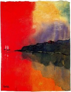 "Emil Nolde, Seacoast (also known as Red Sky, Two White Sails), undated, from Unpainted Pictures, 1938-1945. Watercolor on Japan paper, irregular dimensions: 8.7/8.8 x 6.7"" (22.0/22.3 x 17.1 cm), collection of Nolde Stiftung Seebüll, Germany"