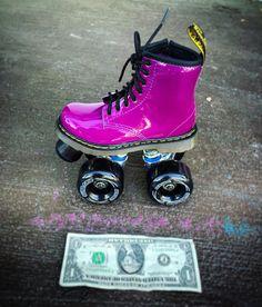 Mini Doc Marten Fuchsia roller skates! Too darn CUTE! We build skates as small as J9 as you see here ;) #MadeAtMoxi #docmartens #drmartens #customskates #longbeach #4thstreetlb #lbc by moxiskateshop