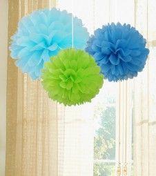 Pom Pom Set - pastellblau, hellblau, hellgrün - 3-teilig
