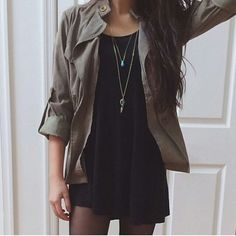 Outfit : black dress + tights + olive jacket + layered necklaces