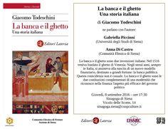 """MedioEvo Weblog: """"La banca e il ghetto"""" presentazione a Siena"""