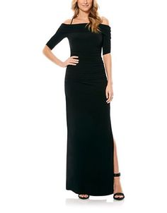 Laundry By Shelli Segal Off-the-Shoulder Jersey Gown Women's Black 2