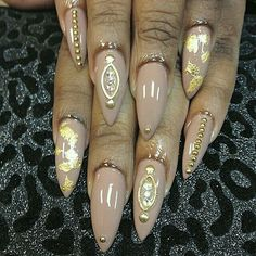 Nude and Gold Stiletto Nails...