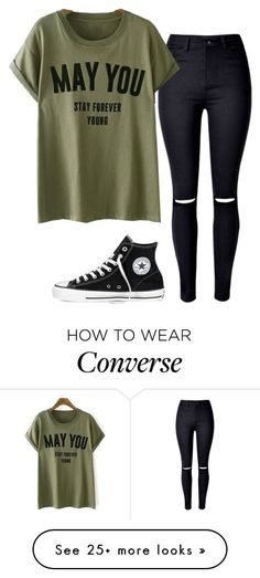 """Something casual #88"" by tropicaldoze on Polyvore featuring WithChic and Converse"