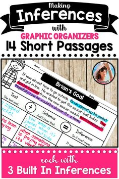 During language arts, you're sure to teach your students about making inferences. It takes a making inferences anchor chart and graphic organizer to have fun with these activities and align them to the common core. These making inferences activities can be used in small group guided reading. If you are short on mentor texts, you can still show examples with text evidence using these short passages. Making Inferences about characters..  #firstgradeliteracy #firstgradereading