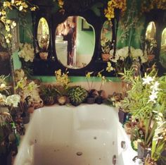 This bathroom is amazing! Looks like a witch bathroom.