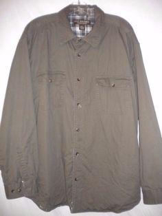 Great Northwest Size XL Khaki Olive Plaid Flannel Lined Long Sleeve Mens Shirt #GreatNorthwestClothingCompany #LinedShirt