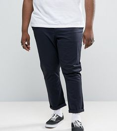 ASOS PLUS Tapered Chinos In Navy - Navy