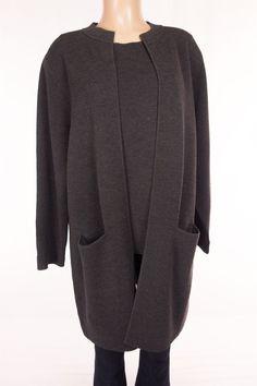 EILEEN FISHER Twinset Plus 1X Brown Wool Shell Long Cardigan Sweater Knit Mint #EileenFisher #Twinset