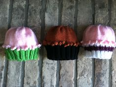 Knit cupcake hats for baby by LonestarBaby on Etsy