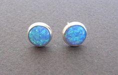 Opal stud earrings  opal post earrings silver by oliveliDesign, $29.00  (blue opal!)