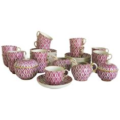 Nymphenburg Porcelain textile pattern floral ribbon demitasse coffee set with 15 coffee cups with saucers, two lidded sugar bowls and two creamers. Designed originated after Hand painted porcelain, each with gold rim. Measurement is for the demitasse cup. China Patterns, Textile Patterns, Coffee Set, Coffee Cups, Black Succulents, Coffee Service, Floral Ribbon, Modern Ceramics, Stoneware