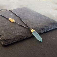 Fire Opal Aqua Chalcedony Necklace, SPRING COLORS, Aqua Blue Yellow Necklace, Oxidized Silver, Asymmetrical, Stone Necklace, Spike Pendant