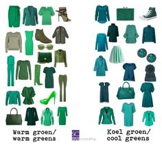 """Warm en koele groentinten. Warm and cool greens."" By Margriet Roorda-Faber."
