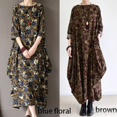 2016 fall brown baggy long sleeve linen dresses long cotton maxi dress oversized cotton clothingThis dress is made of cotton linen fabric, soft and breathy, suitable for summer, so loose dresses to make you comfortable all the time.Measurement: One Size: Shoulder 40cm / 15.6