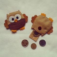 Porta moeda 7cm coruja marrom