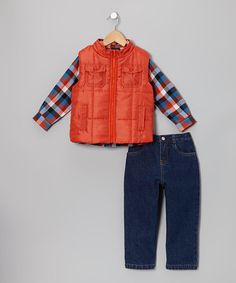 Take a look at this Orange Plaid Vest Set - Infant & Toddler by Boys Rock on #zulily today!