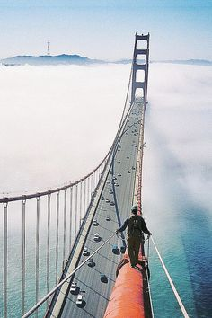 Climbing Over The Golden Bridge.. I didn't even know something like this could be done